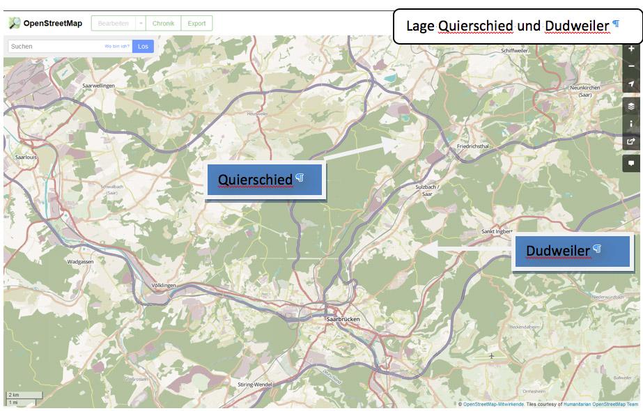 Abbildung 2: Lage Dudweiler und Quierschied